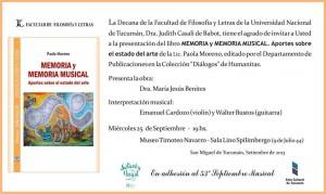"""Presentación del libro """"Memoria y Memoria Musical"""" - 53 ° Septiembre Musical - 2013"""